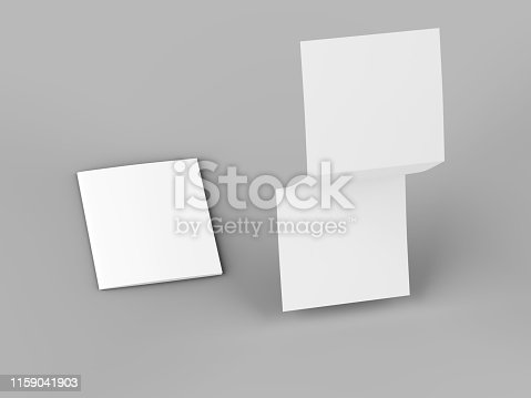 887572514 istock photo Open tri-folded leaflet in square format 1159041903
