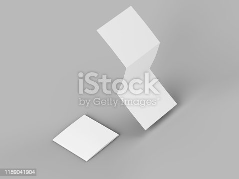 887572514 istock photo Open tri-folded leaflet in square format 1159041904