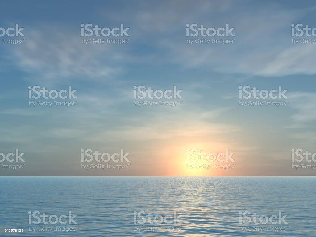 Open Tropical Sea Sunrise Background stock photo