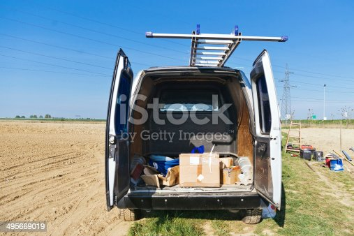 istock Open van on construction site 495669019