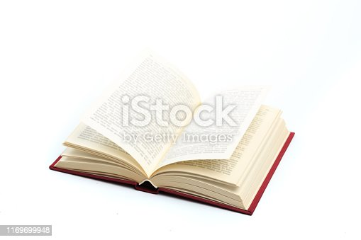open vintage book isolated on a white background -Image