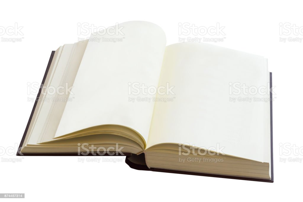 Open Vintage Book Isolated On White Background, Education Object stock photo