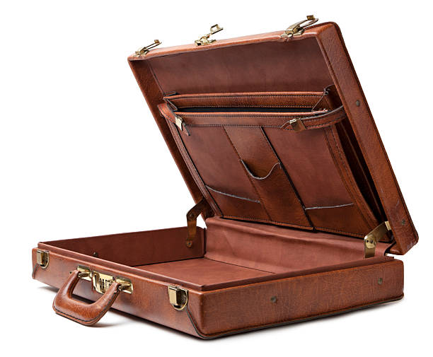 Open vintage briefcase stock photo