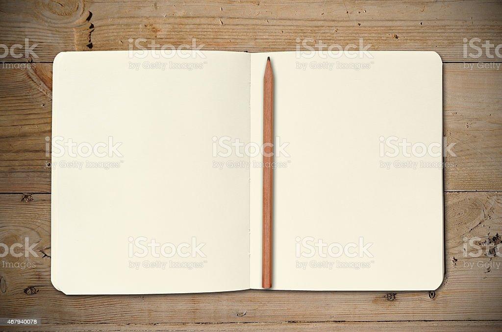 Open Vintage Sketchbook stock photo