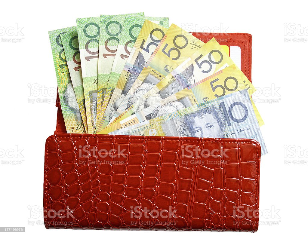 Open wallet with money on isolated white background royalty-free stock photo