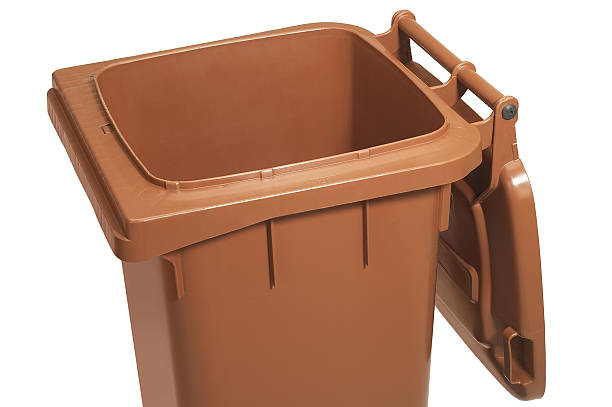 open waste container stock photo
