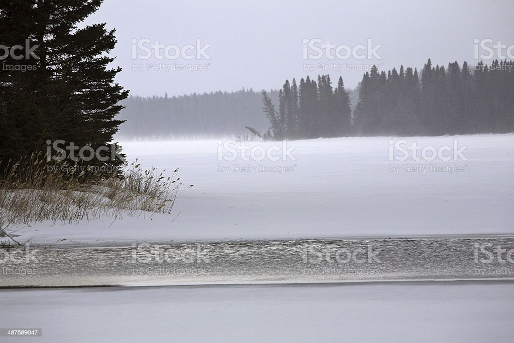 Open water at the Narrows of Waskesui Lake stock photo