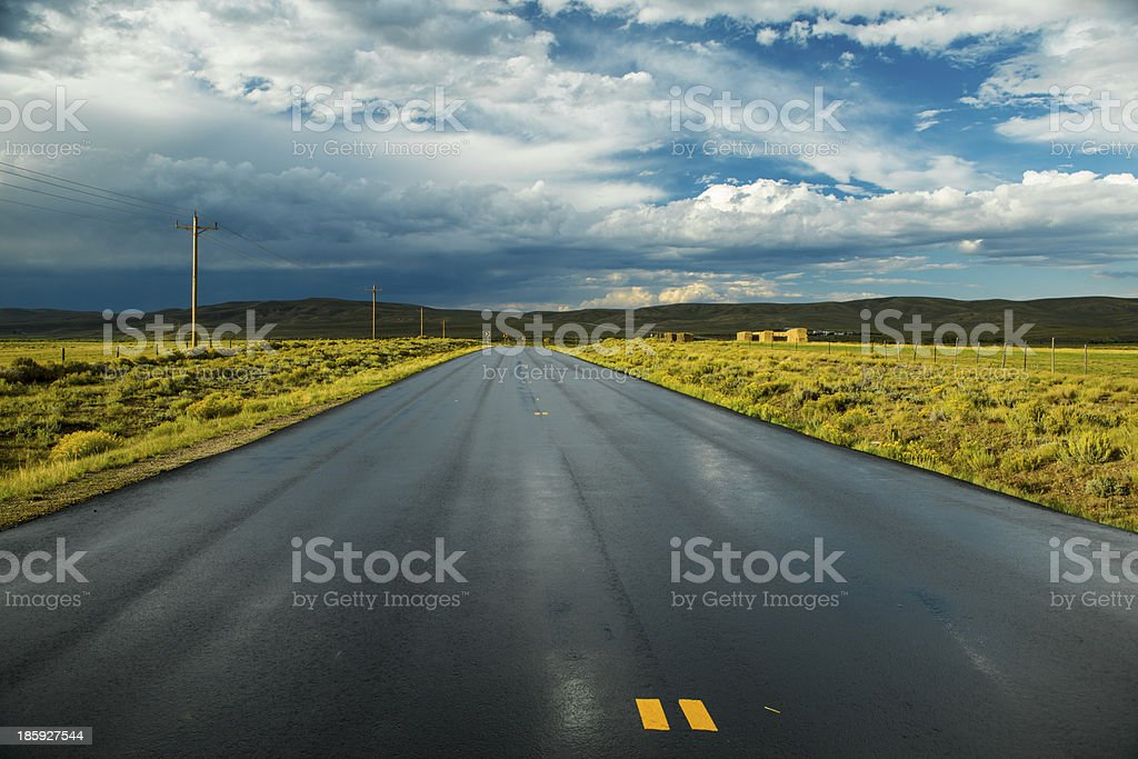 Open Wet Road royalty-free stock photo