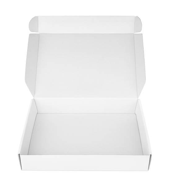 Open white blank carton pizza box stock photo