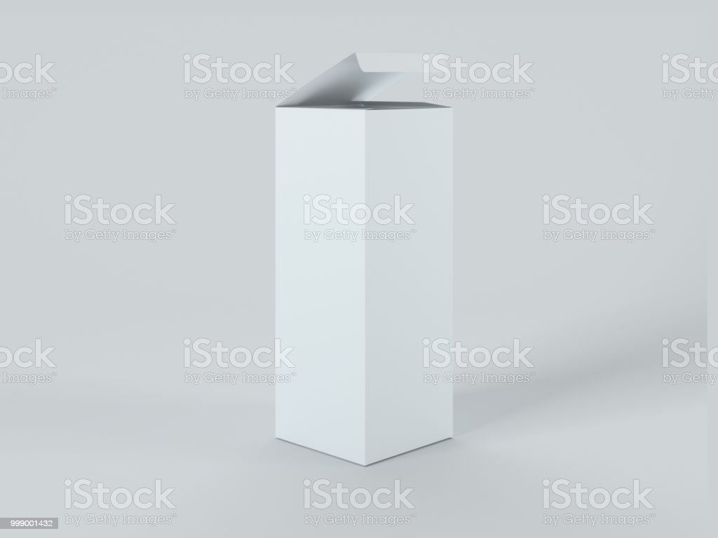 Open white box isolated on white background 3d Illustration