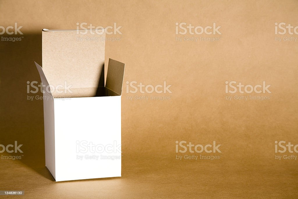 Open white cardboard box.  Room for copy. royalty-free stock photo