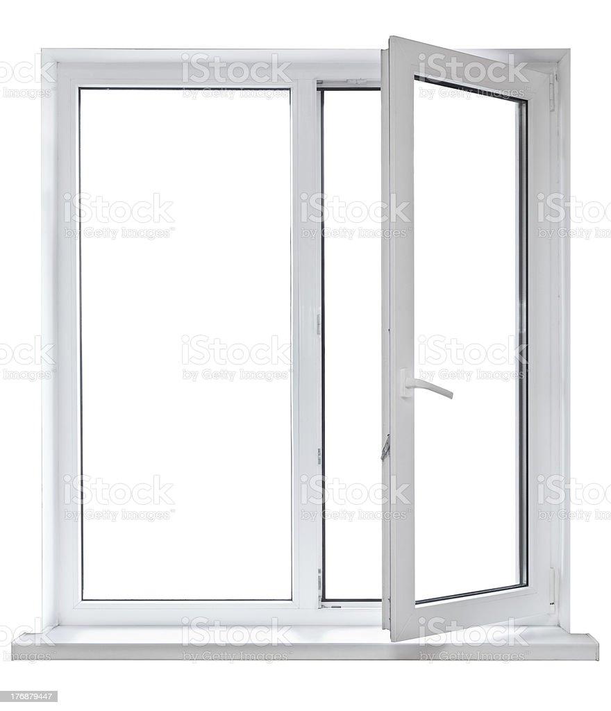 Open white casement window on white background stock photo