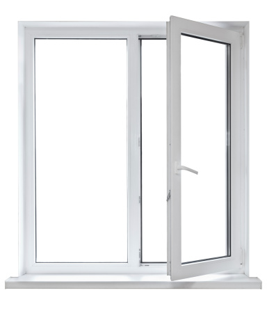 Open White Casement Window On White Background Stock Photo ...