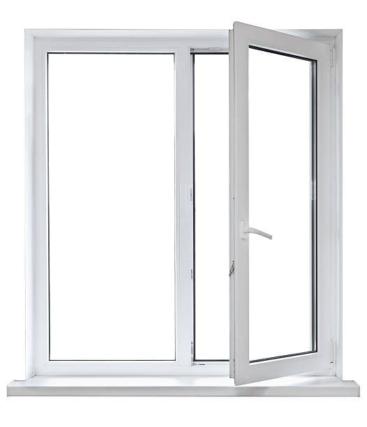 Open white casement window on white background White plastic double door window isolated on white background. Opened door pvc stock pictures, royalty-free photos & images