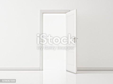 istock Open White Door on White Wall, Illustration 529082305