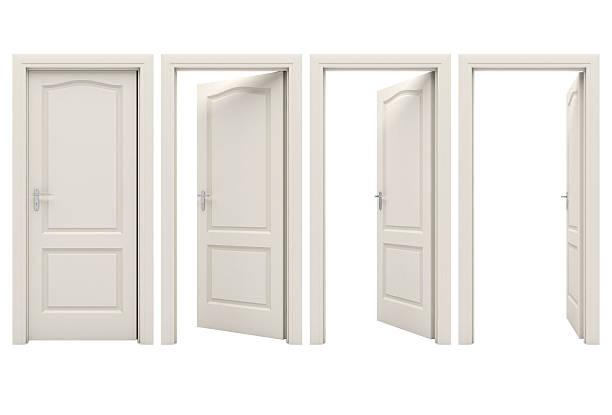 open white door stock photo