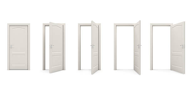 Open white door Closed and doors Isolated on White Background doorway stock pictures, royalty-free photos & images