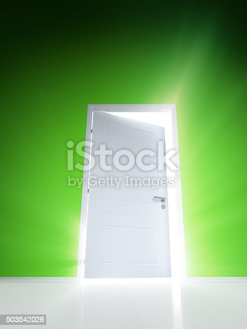 922736646 istock photo Open white door with rays of light on green wall 503542026