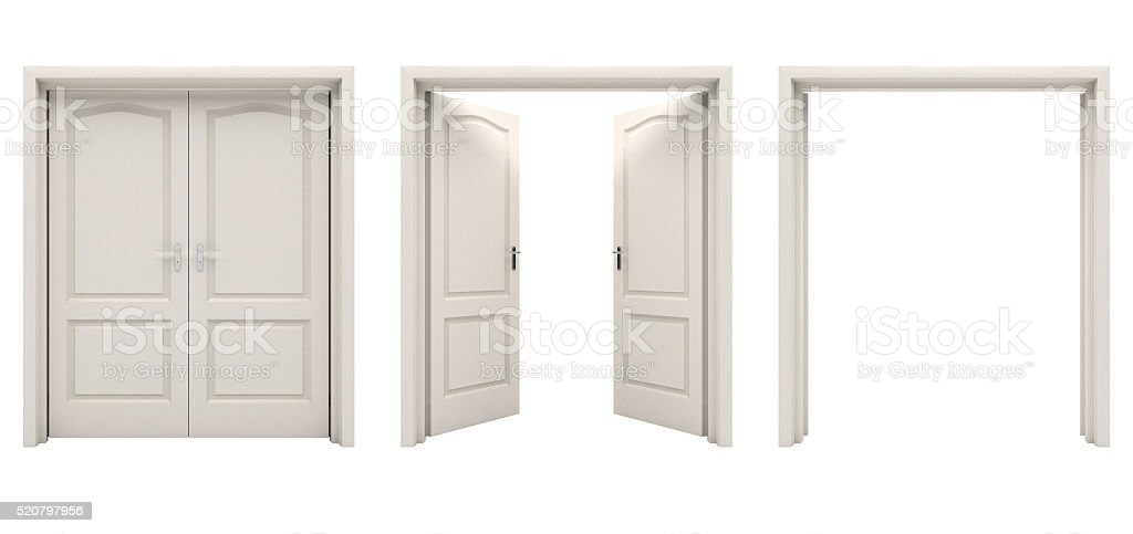 white double door. Open White Double Door Isolated On A Background. Stock Photo