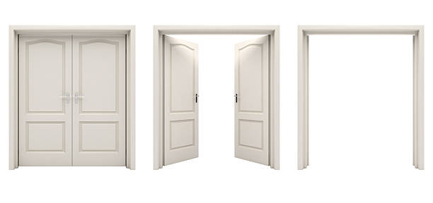 open white double door isolated on a white background. - symmetry stock photos and pictures