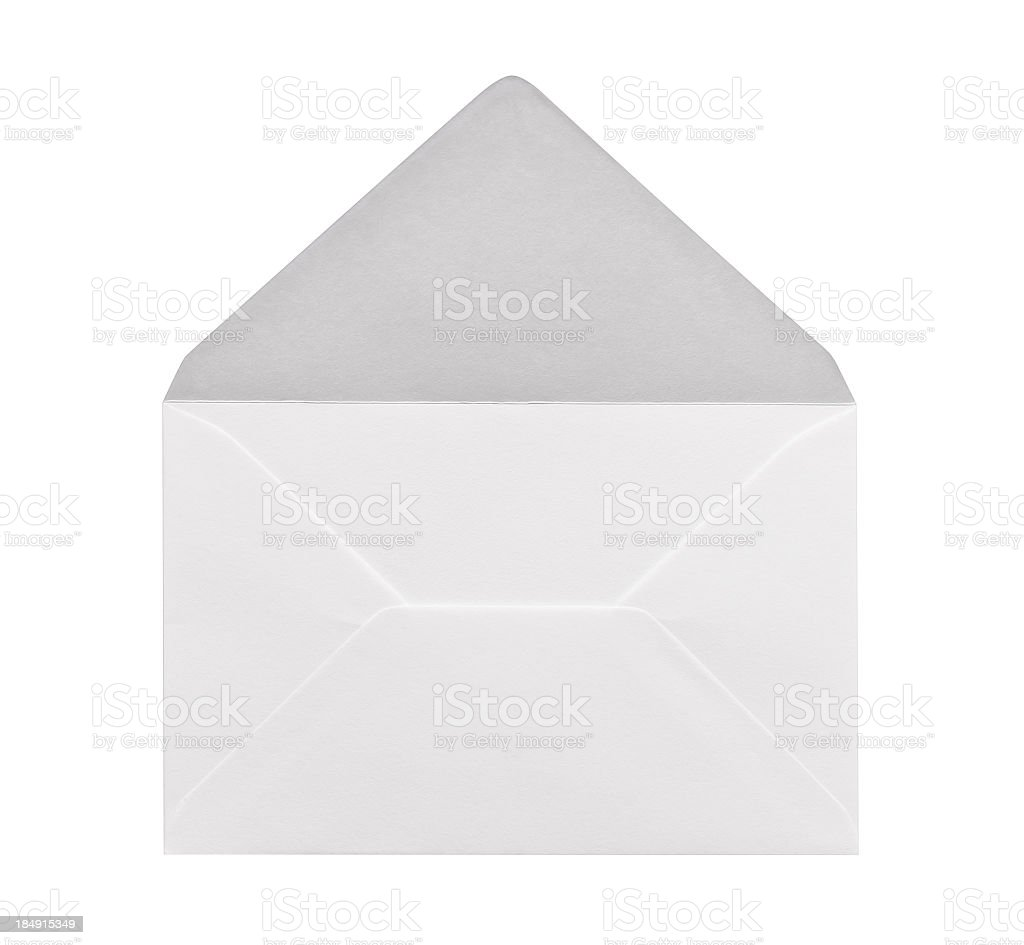 Open white envelope waiting for a letter stock photo