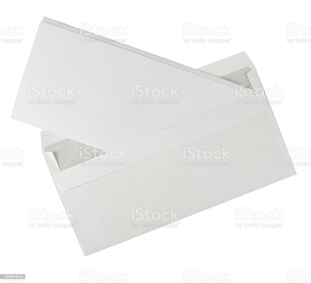 Open white envelope with letter - isolated stock photo