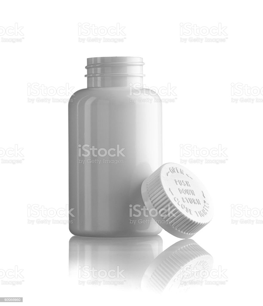 Open white medicine bottle royalty-free stock photo