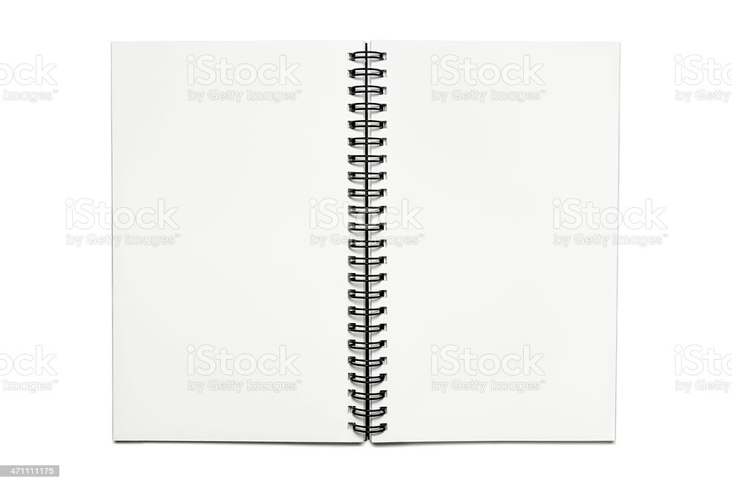 Open white notebook stock photo