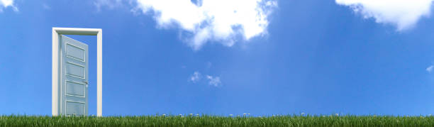 open white wooden door opening to freedom in green grass with flowers realistic 3D rendering stock photo