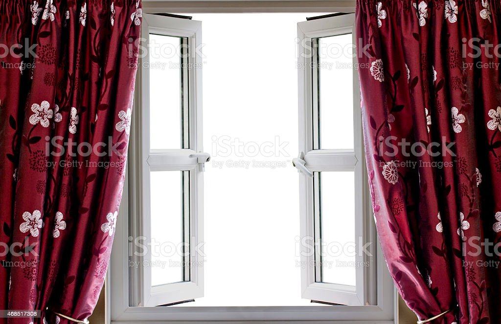 Open window and curtains with a blank white view stock photo
