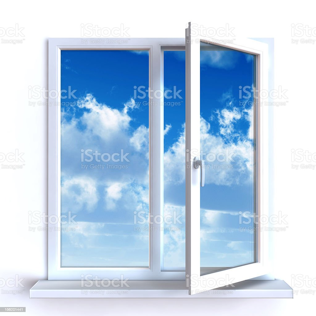 Open window and the cloudy sky royalty-free stock photo