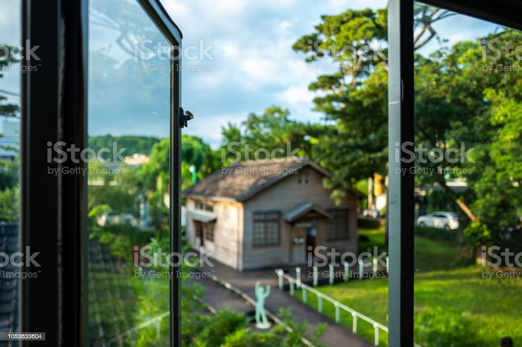 Open window at the Pine Garden in Hualien, Taiwan. stock photo