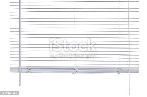 Close-up of an open window blind, isolated on a white background. Shot with a DSLR camera.