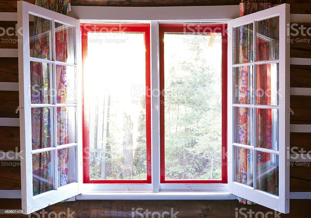 Open window in cottage royalty-free stock photo