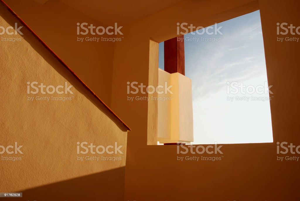 Open Window in Mexico at Sunset stock photo