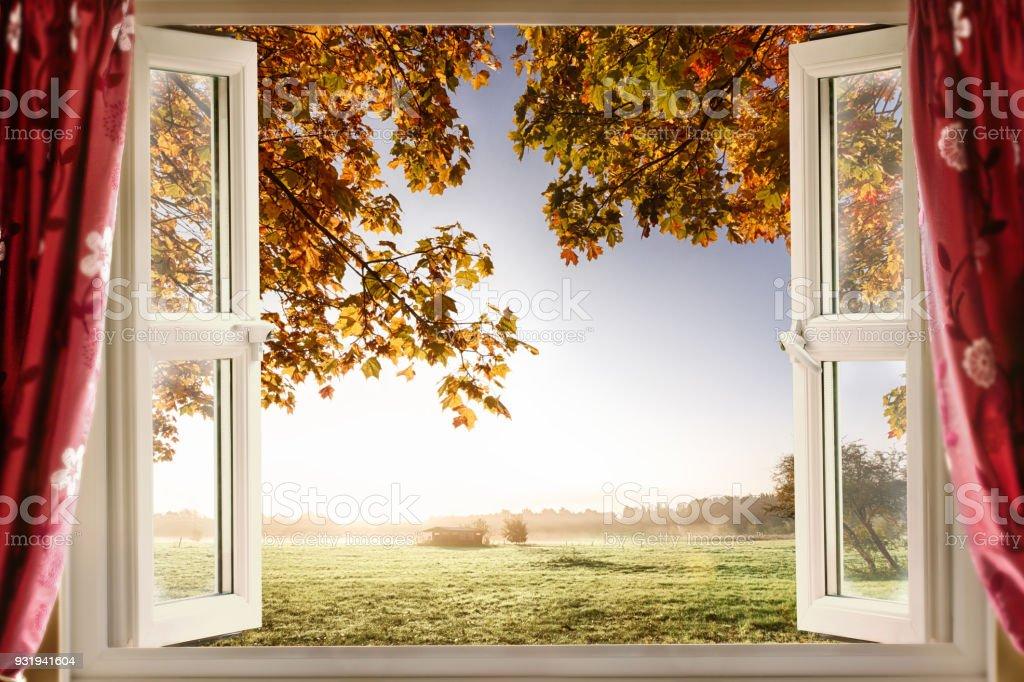 Open window onto stunning countryside stock photo
