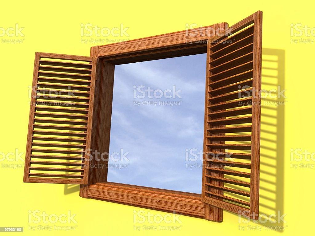 3D open window royalty-free stock photo