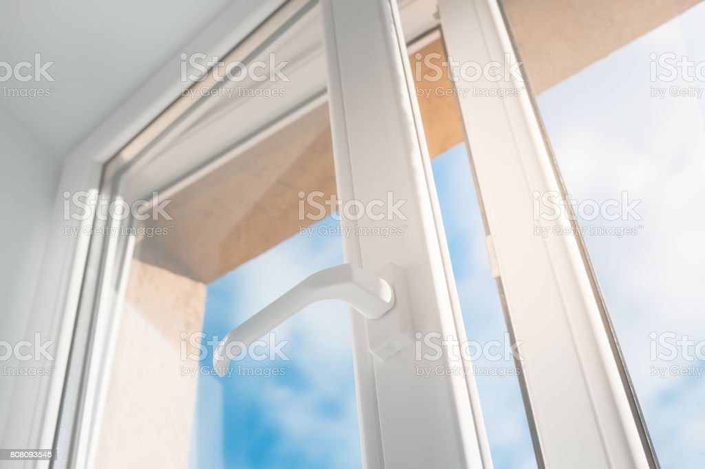Open window. PVC plastic. stock photo