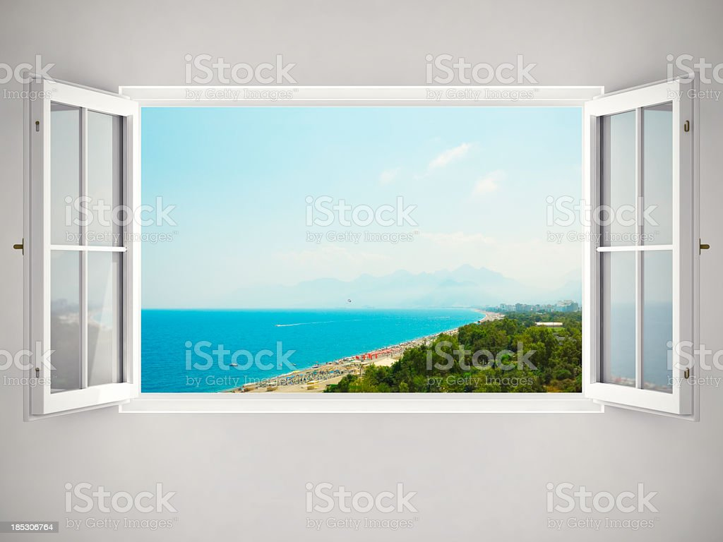 Open Window With Beautiful View stock photo