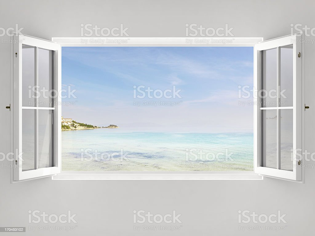 Open Window With Ocean View stock photo