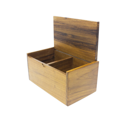 open wooden box isolated