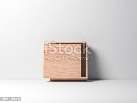 istock Open Wooden plywood box Mockup against white wall 1029653090