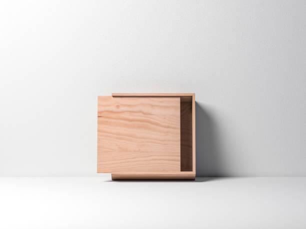 öppna trä plywood låda mockup mot vit vägg - wine box bildbanksfoton och bilder