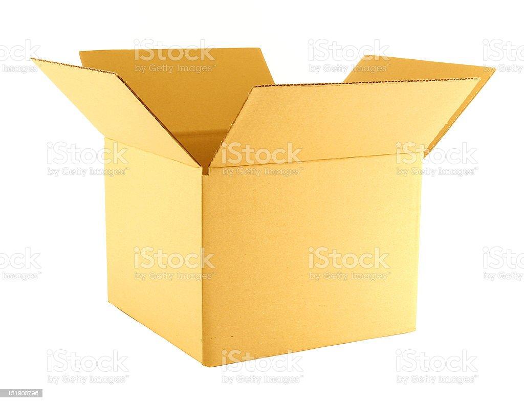 Open yellow cardboard box royalty-free stock photo