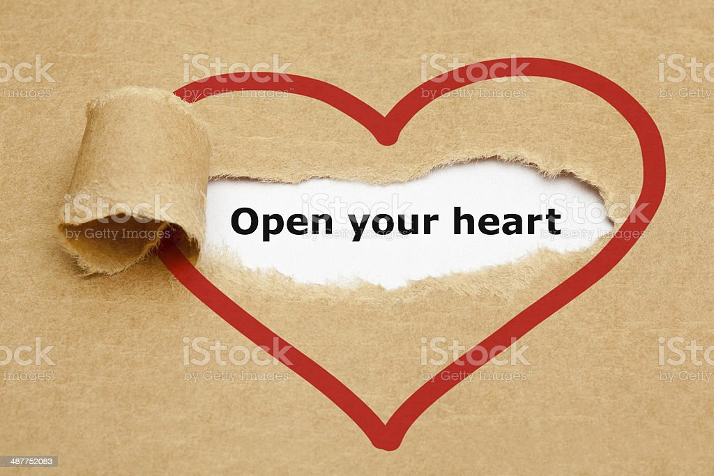 Open Your Heart Torn Paper stock photo