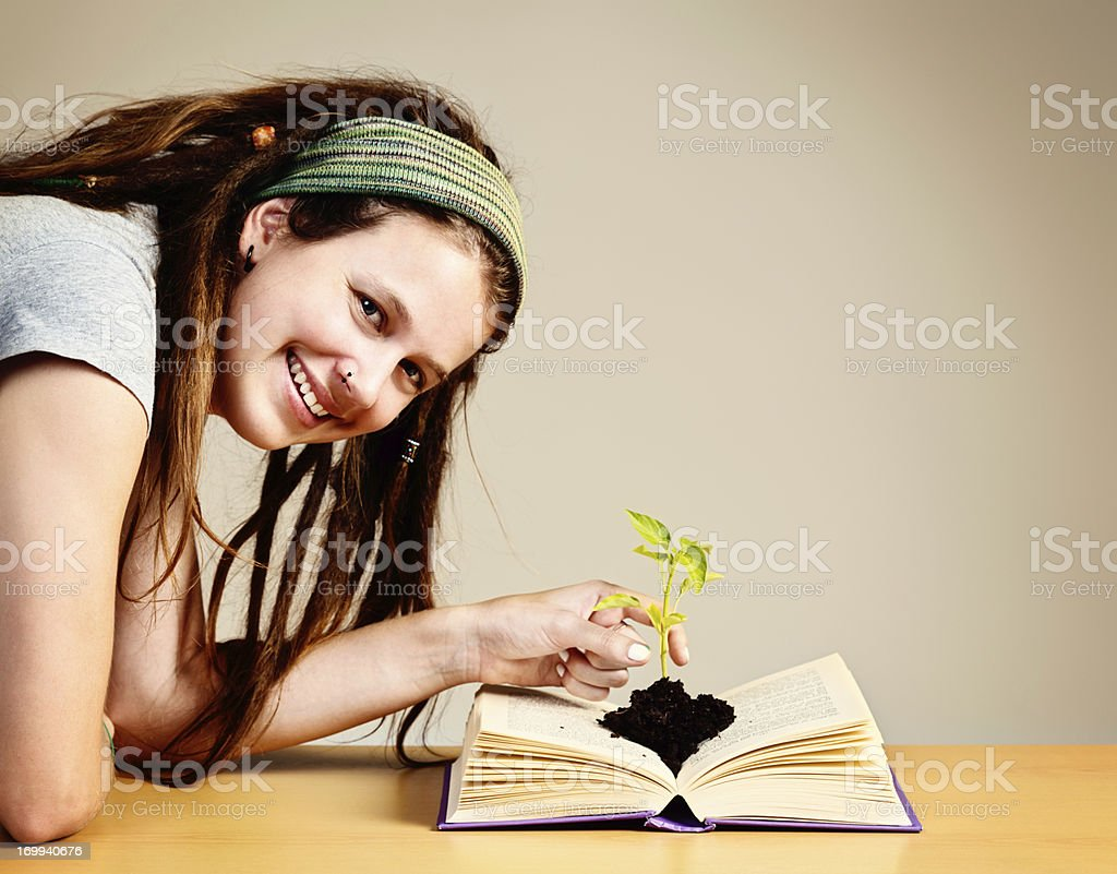 Open your mind to growth and knowledge with books royalty-free stock photo