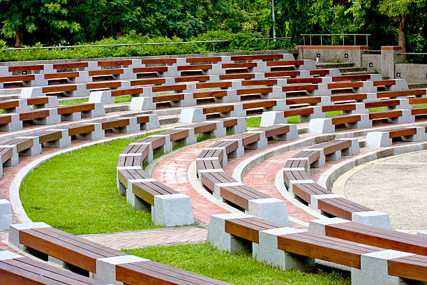 Open-air auditorium a stage with chairs in Open-air auditorium amphitheater stock pictures, royalty-free photos & images