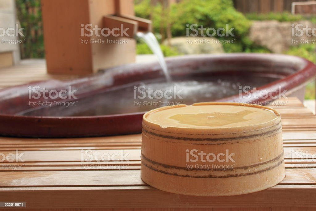 Open-air bath stock photo