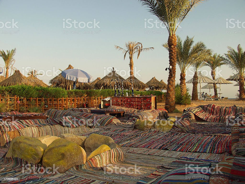 Open-air cafe for the hookah smokers stock photo
