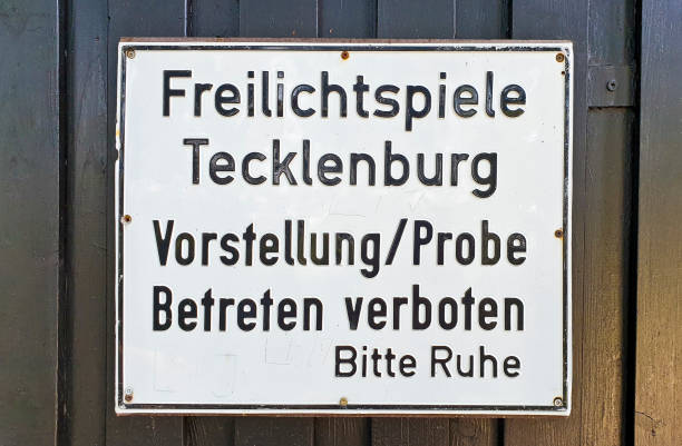 Open-air games Tecklenburg warning sign stock photo